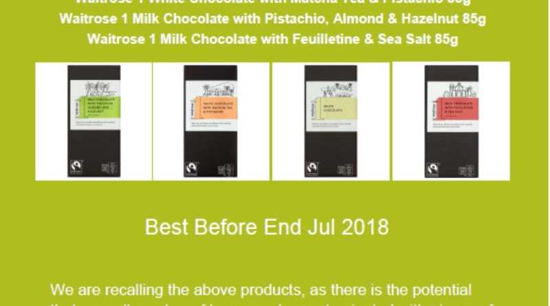 Waitrose choc bar recall
