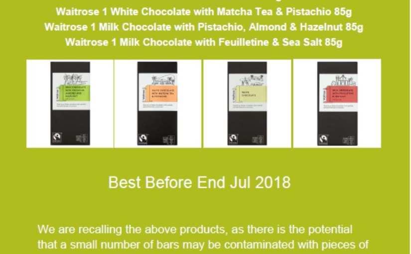 Waitrose recalls chocolate bars