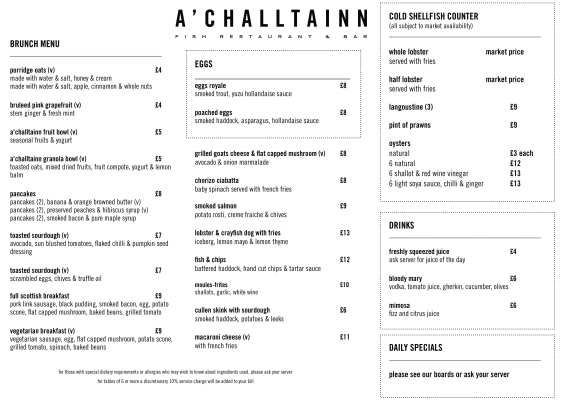 A'Challtainn Menu glasgow
