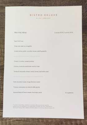 Prix fixe menu bistro Deluxe Paul Tamburrini
