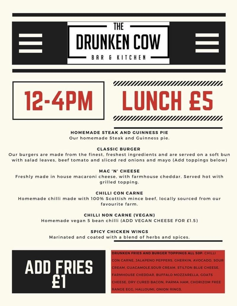 The Drunken Cow menu Glasgow foodie explorers
