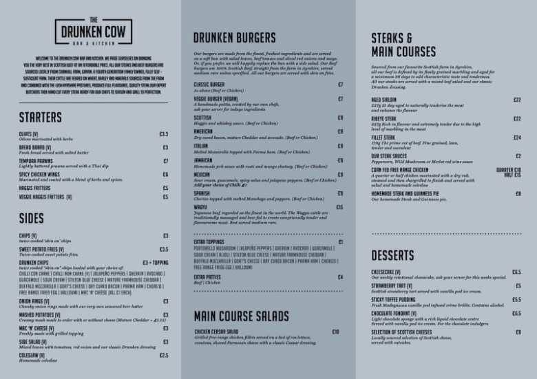 The Drunken Cow menu Glasgow foodie explorers