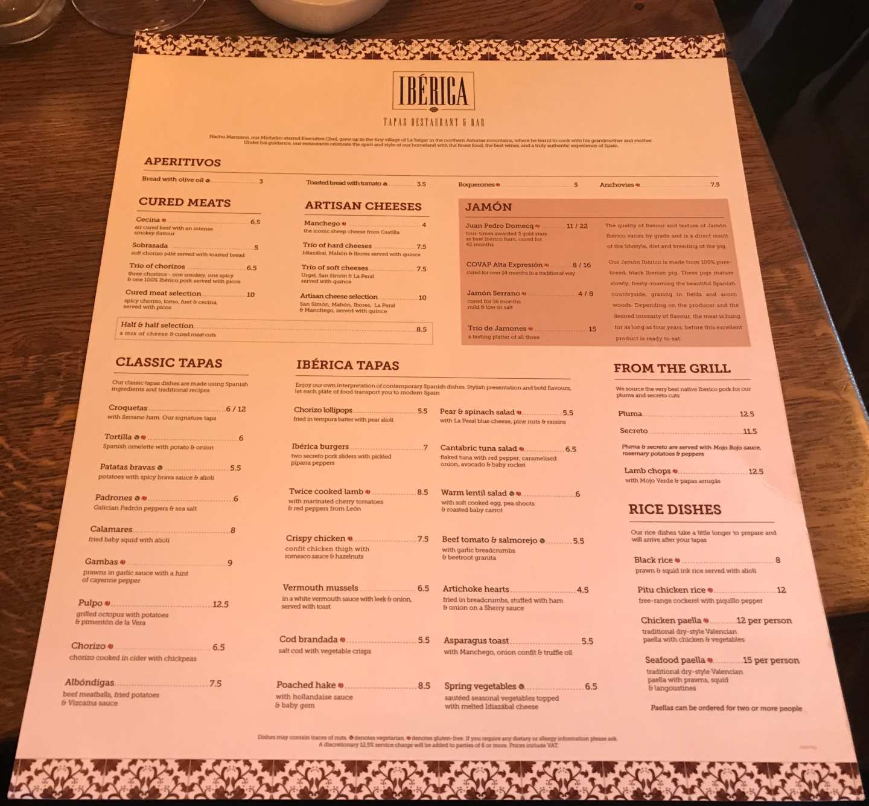 Menu Iberica Spanish food glasgow spring menu