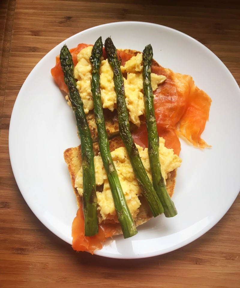 Smoked trout Asparagus and Scrambled Eggs Brunch Recipe
