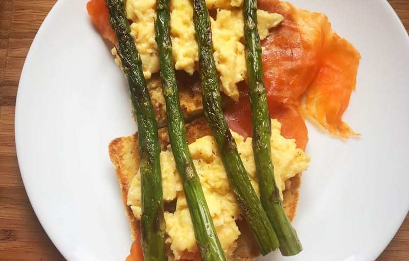 Recipe: roasted asparagus, scrambled egg and smoked trout brunch
