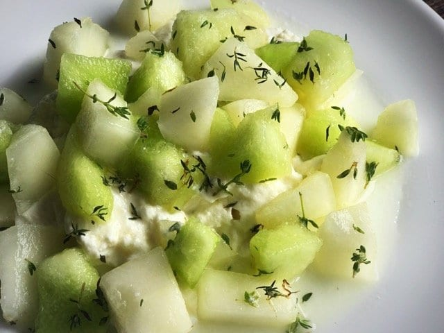 Melon lemon and thyme salad recipe foodie explorers