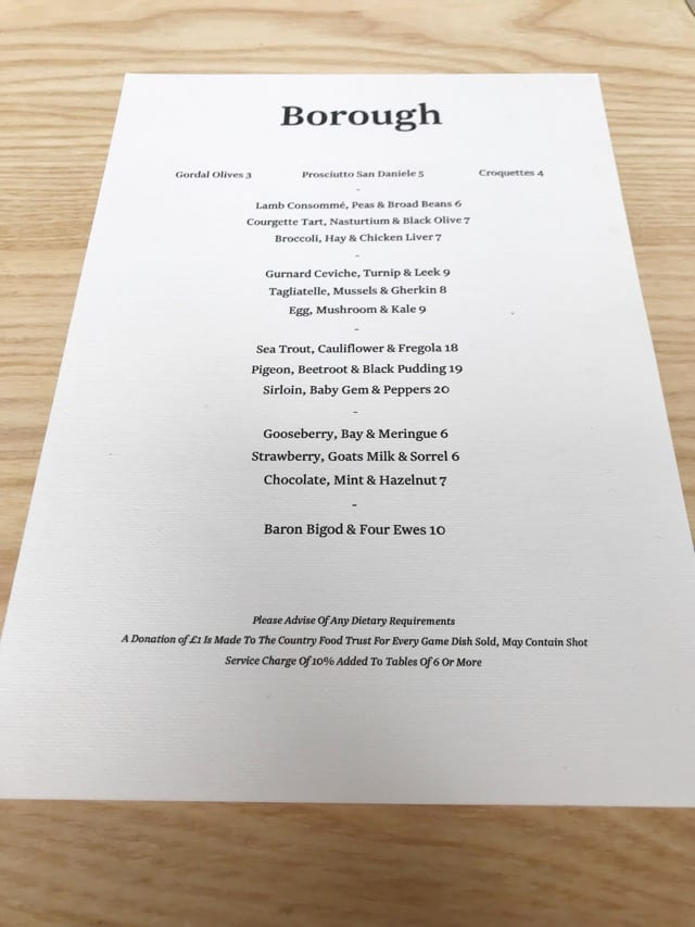 Menu Borough Leith restaurant new opening review