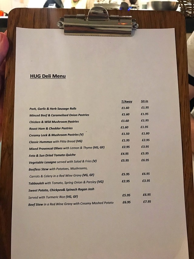 Hug Shawlands cafe menu
