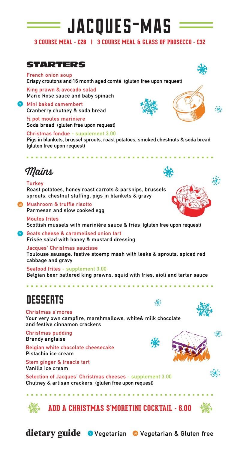 Christmas menu Jacques Finnieston bar restaurant Brel itison West End