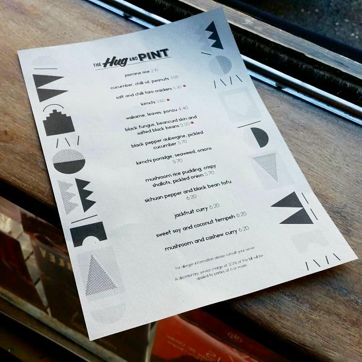 The hug and pint menu