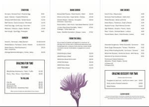 Grazing by Mark Greenaway menu