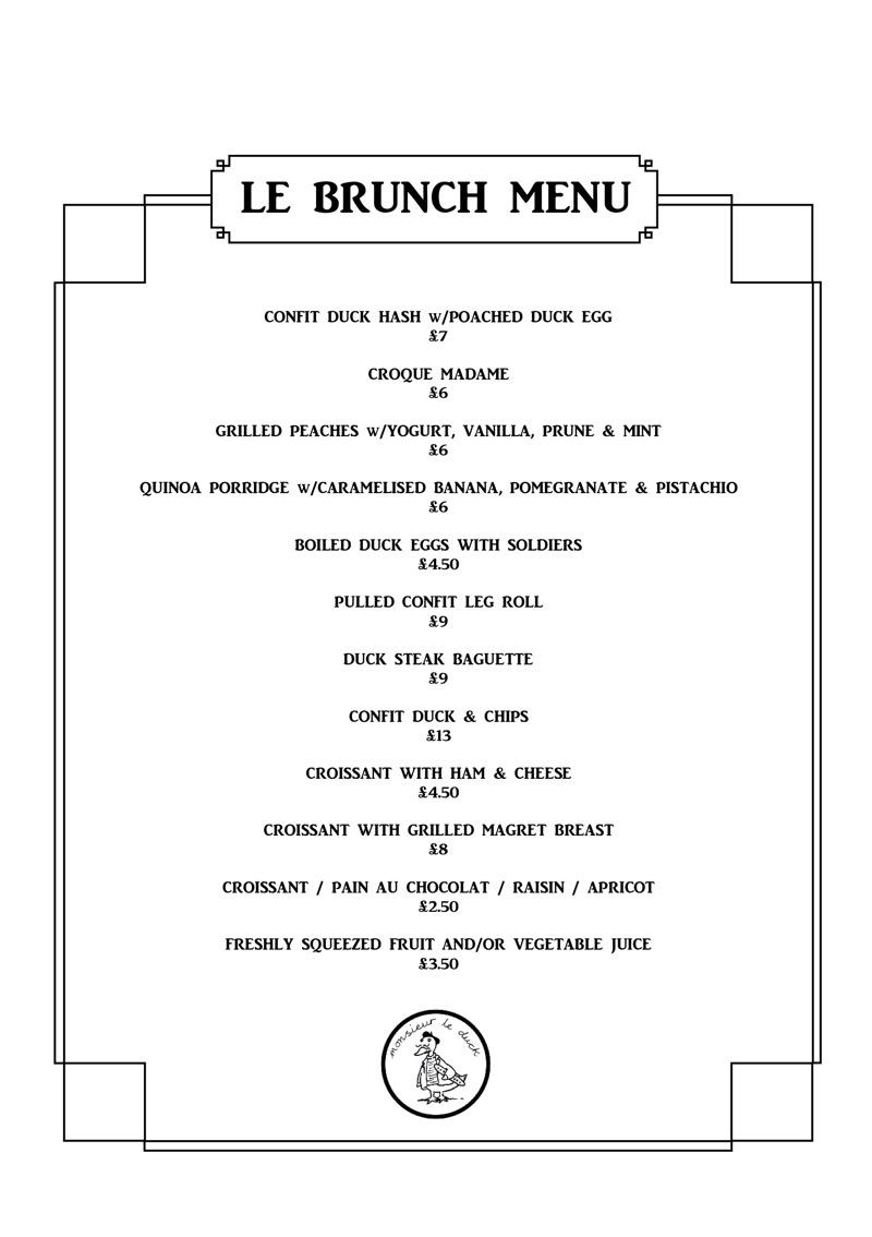 Monsieur le duck brunch menu London
