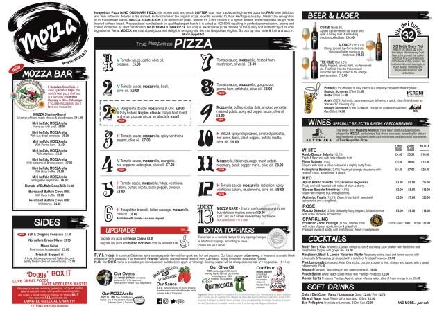 Mozza gourmet pizza menu