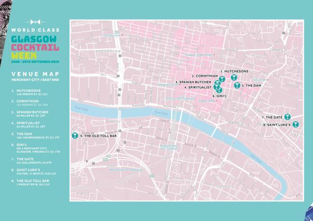 Glasgow cocktail week venue map