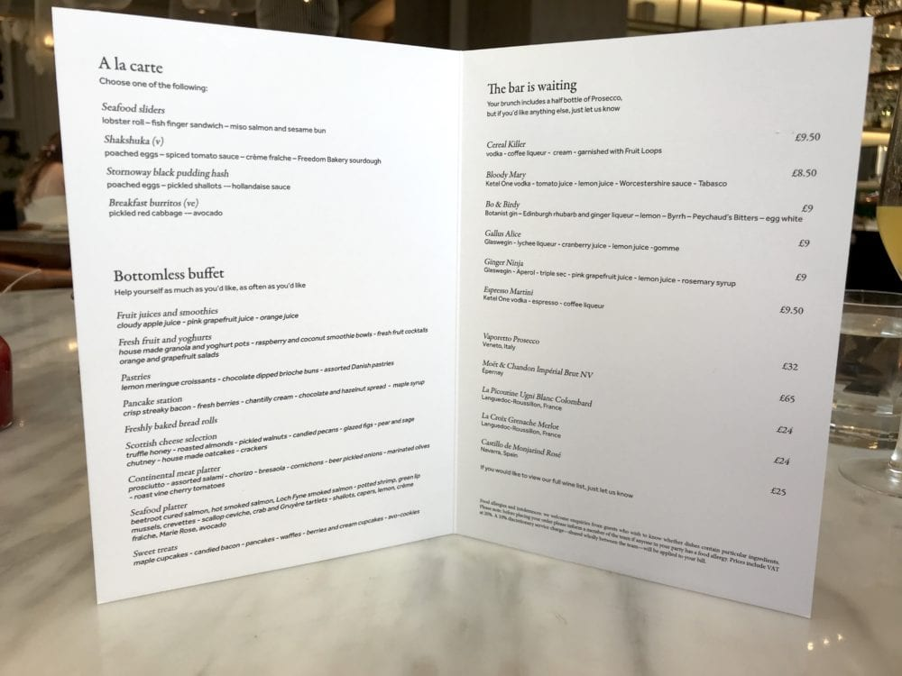 bo and birdy baottomless brunch glasgow 5 star hotel menu