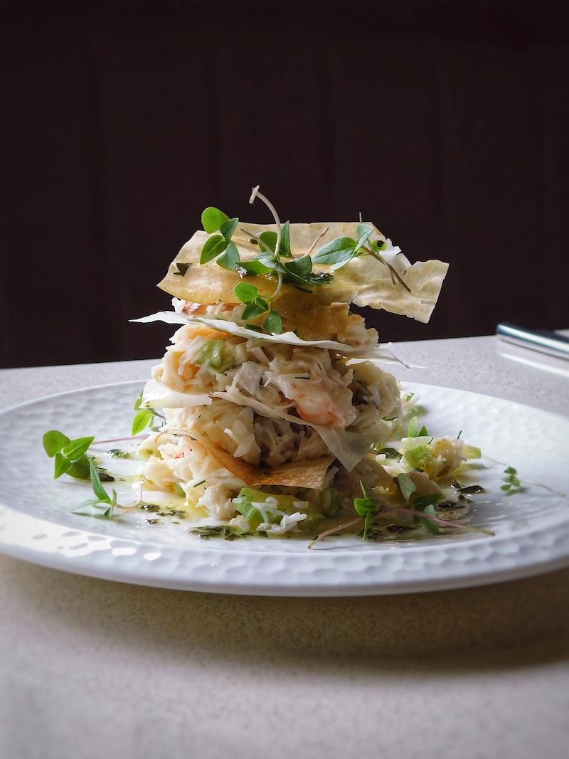 Prawn & Crab with Filo, celery, creme fraiche, lemon, dill (Gandolfi Fish) (1) gandolfi fish