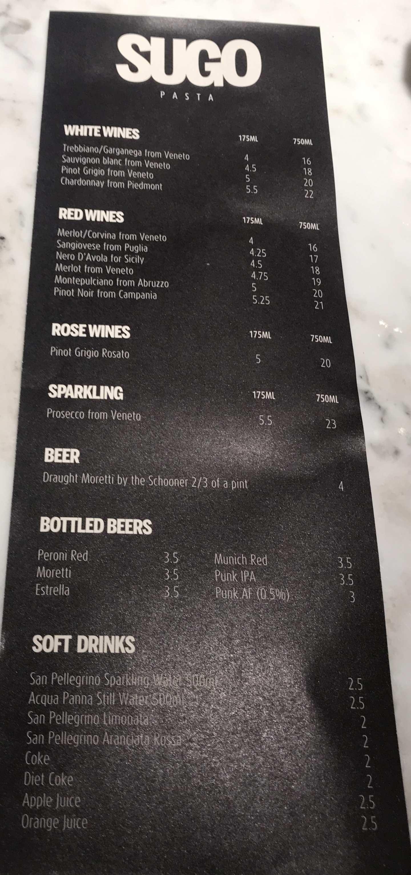 Drinks menu sugo Glasgow