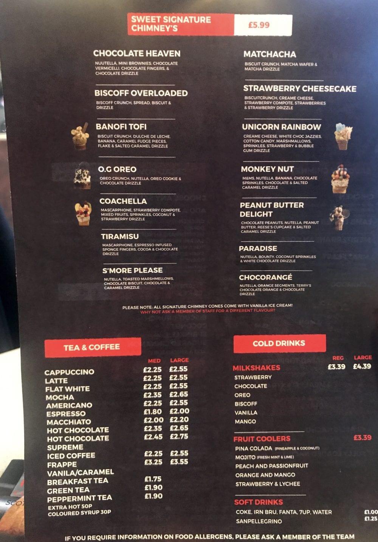the chimney cake corporation glasgow menu