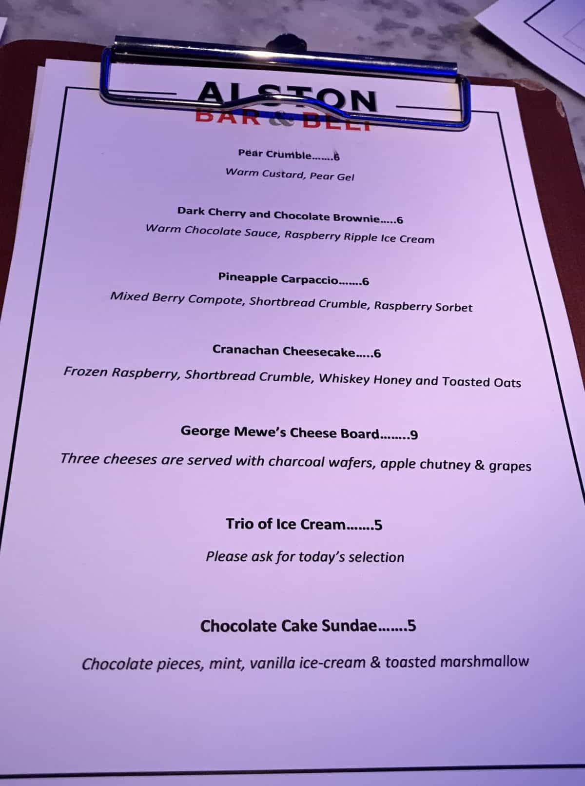 Alston bar and beef dessert menu