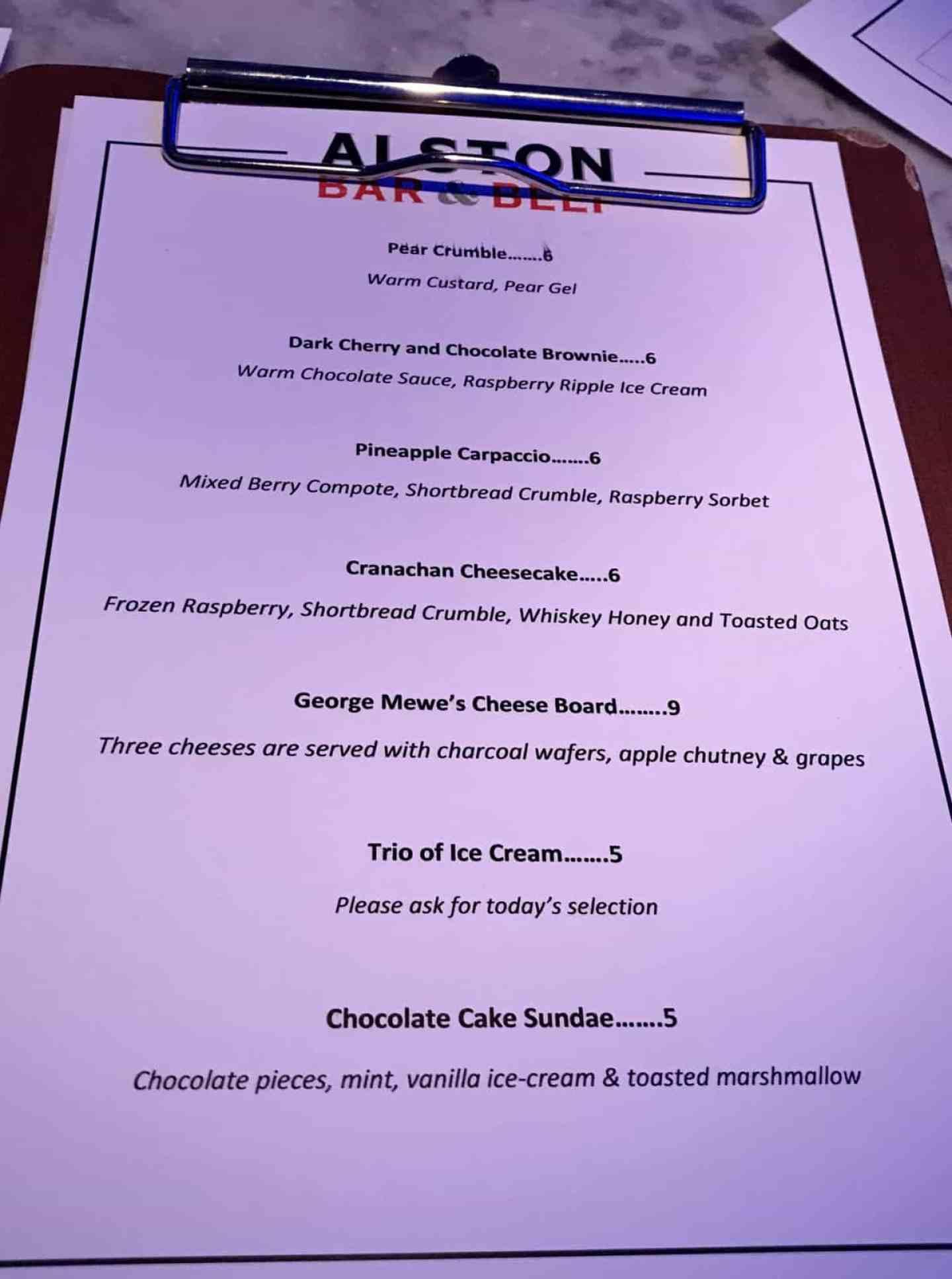 Alston bar and beef dessert menu