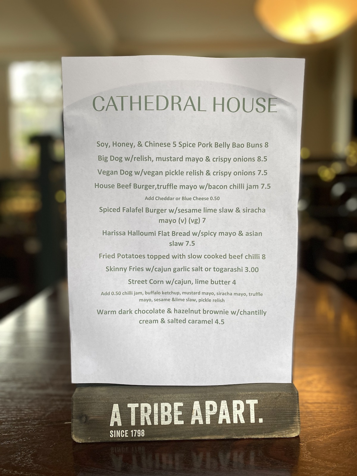 cathedral house hotel menu