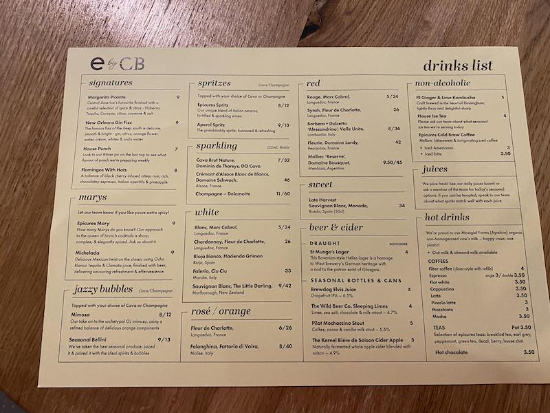 epicures by cail bruich drinks menu