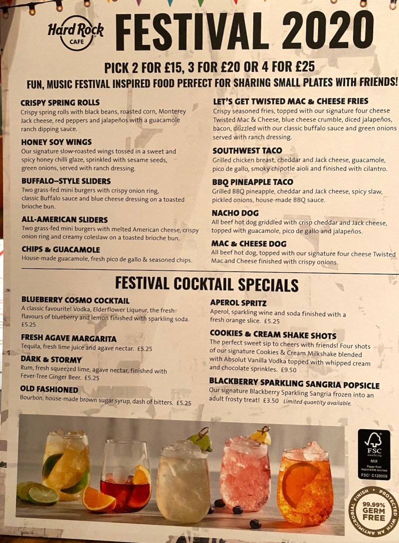 Hard Rock Cafe Festival 2020 Menu