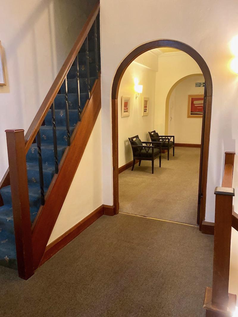 rounded hotel hallway