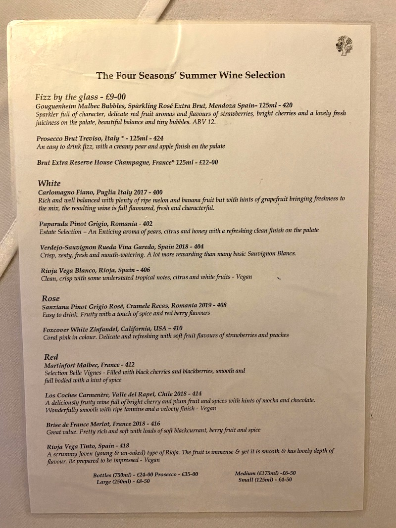 The Four Seasons wine by the glass menu