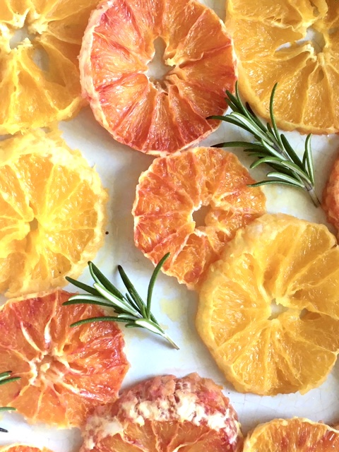 Maple syrup and rosemary caramelised oranges pin