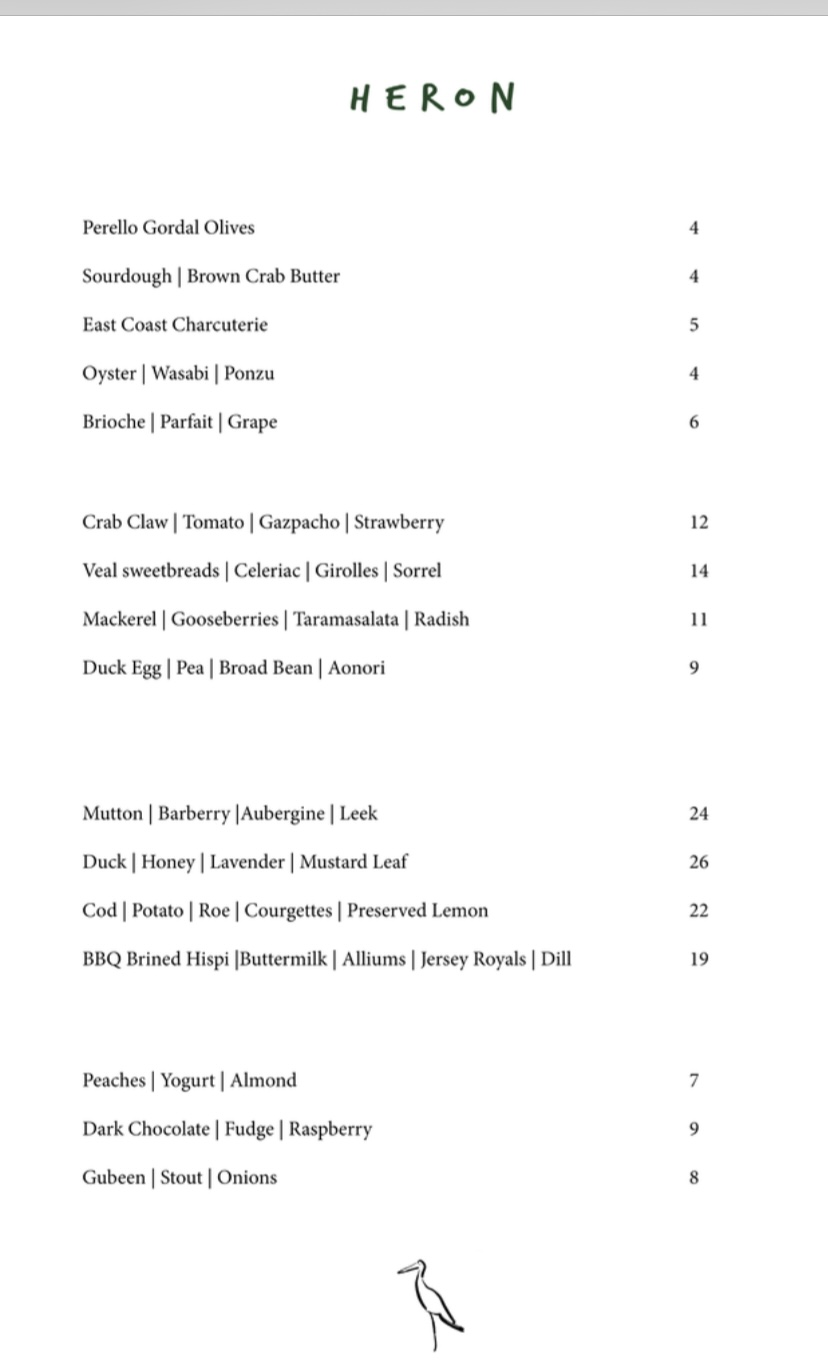 Heron leith a la carte menu