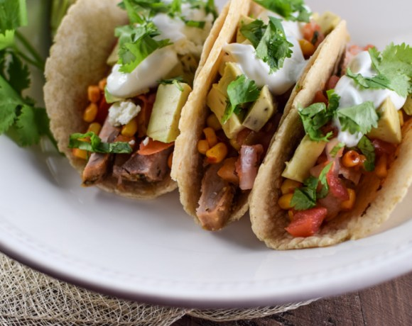 Pork Tacos with Avocado Corn Salsa