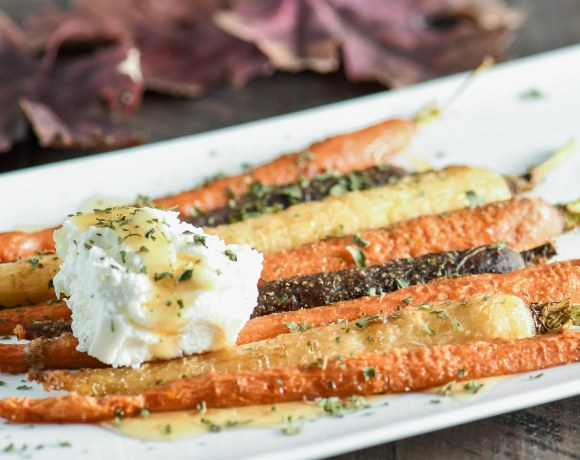 Simple Roasted Carrots with Cumin, Honey & Ricotta