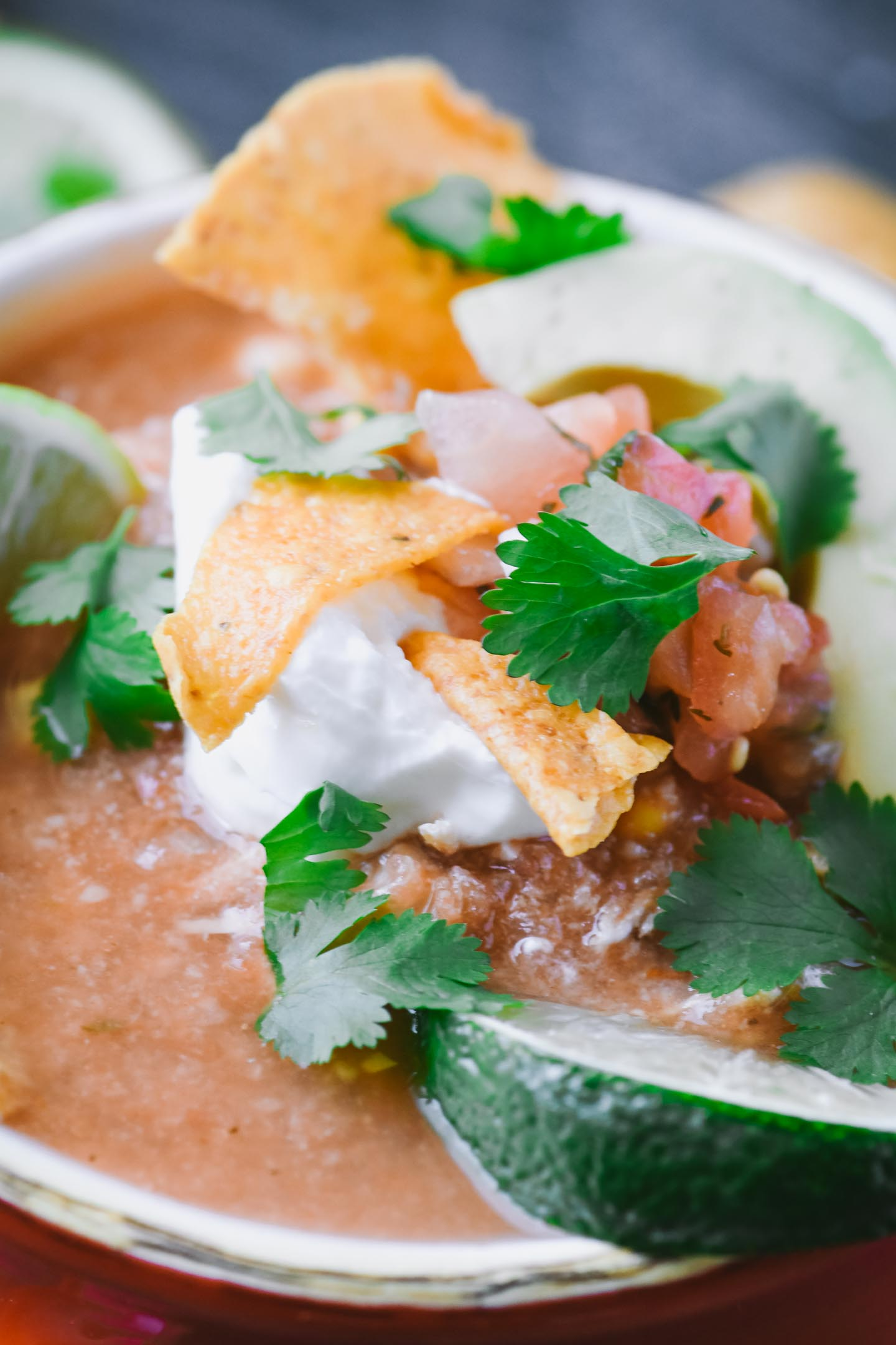 Close up of avocado, tortilla chip and pico de gallo topping on chicken tortilla soup