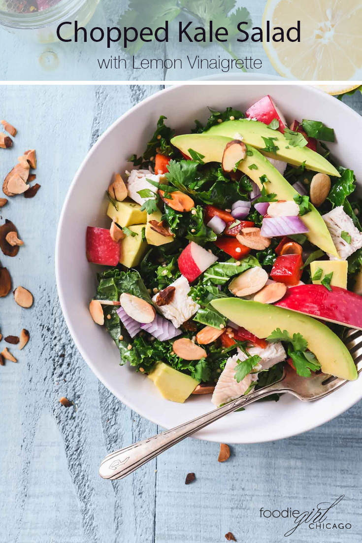 If you're craving something healthy, this Chopped Kale Salad is loaded with veggies, topped with chicken and a tangy lemon vinaigrettegiving you an easy, tasty meal!