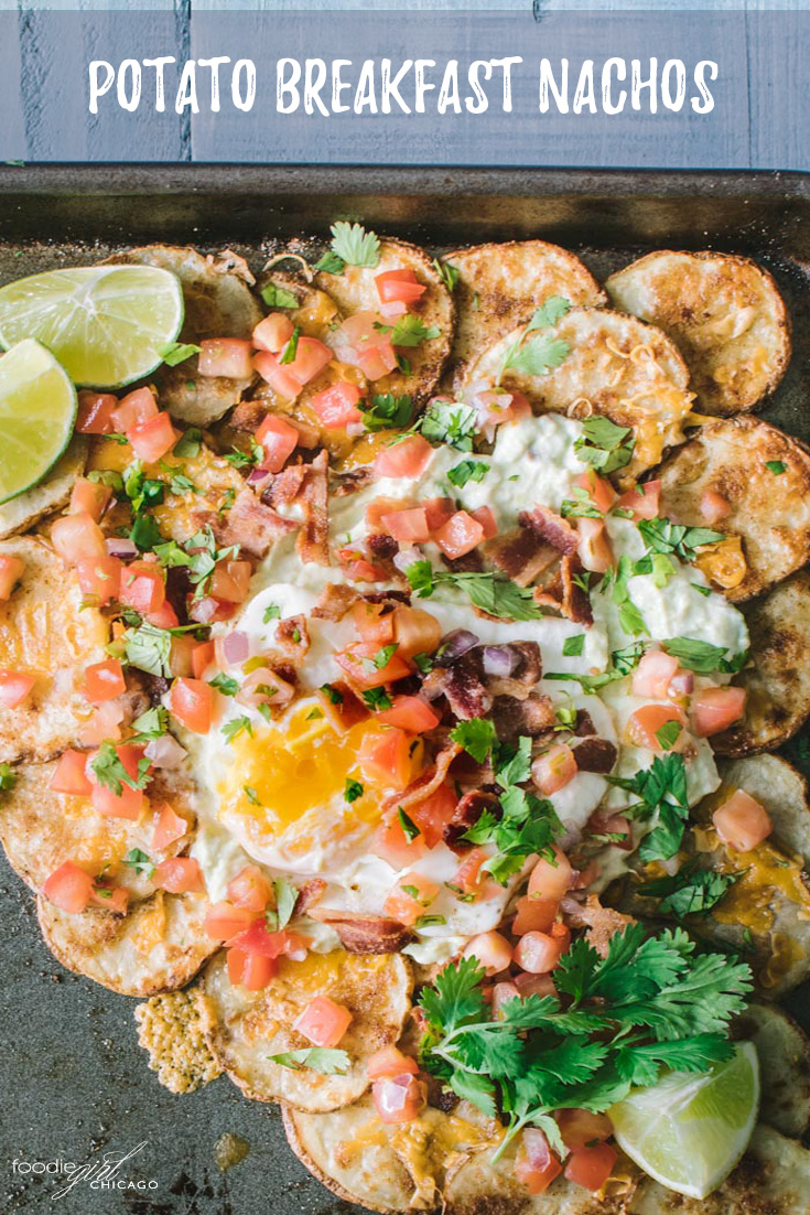 Nachos for breakfast? Absolutely!! Topped with avocado crema and an egg these potato nachos make the ideal breakfast!