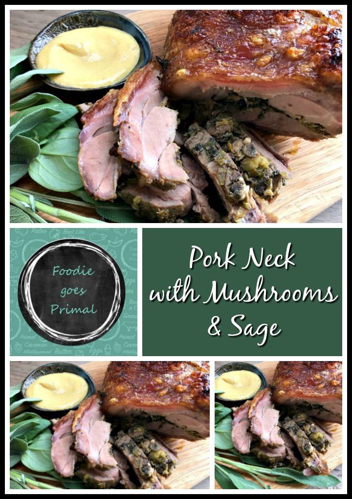 Pork neck stuffed with mushroom and sage