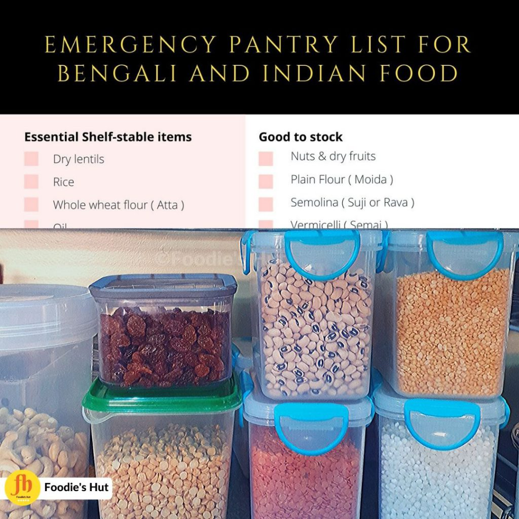 Emergency pantry list for Benglai and Indian Food