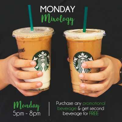 Starbucks BUY 1 FREE 1 ~ 买一送一促销!第二杯饮料免费啊!星期一不再Blue 咯!