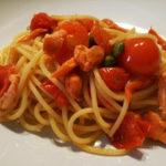 Spaghetti salmone pomodorino e cappero