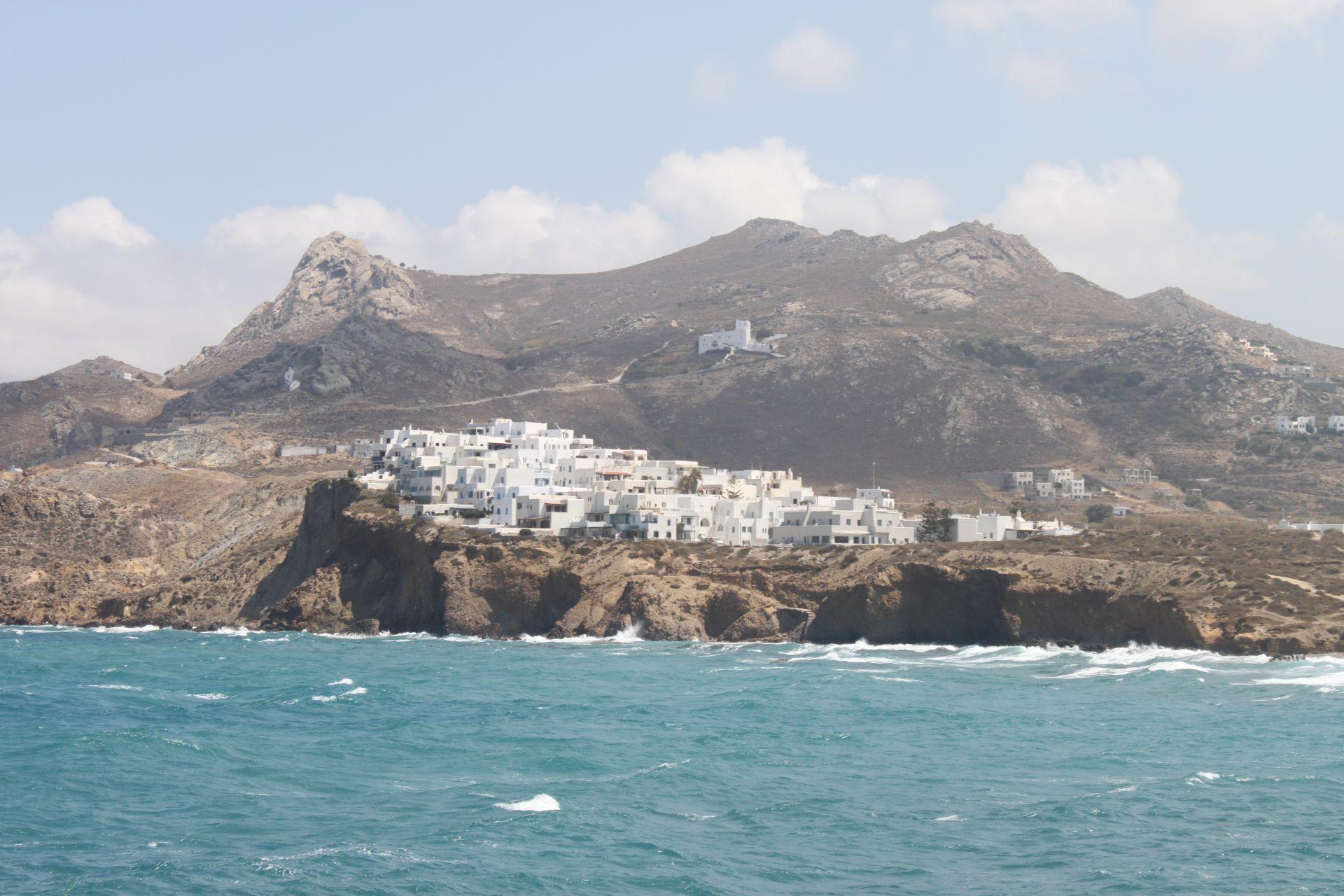 Uitzicht vanaf Poort van Apostolis Naxos Cycladen Griekenland