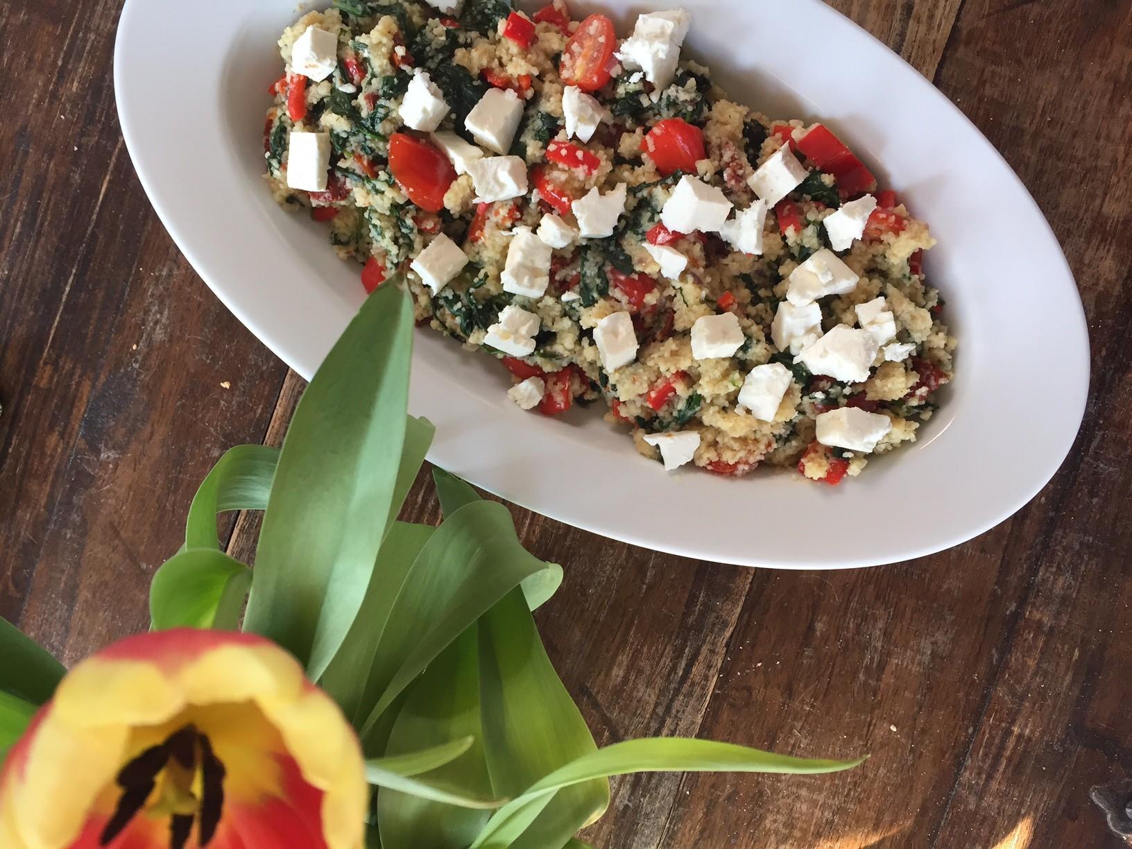 Couscous salade met spinazie en feta recept Foodblog Foodinista