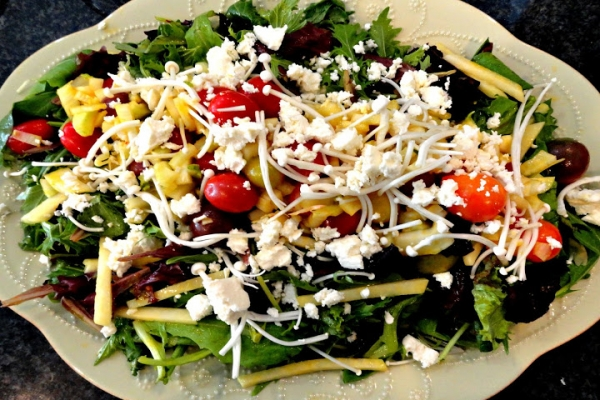 Mesclun Mix, Kohlrabi, Heirloom and Cherry Mini Tomatoes, Enoki Mushrooms, Fennel and Feta Cheese Salad with Mango Vinaigrette