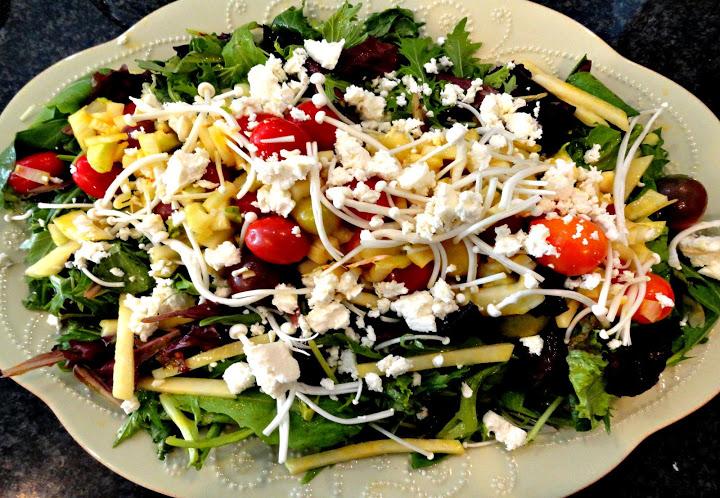 Mesclun Mix, Kohlrabi, Heirloom and Cherry Mini Tomatoes, Enoki Mushrooms, Fennel and Feta Cheese Salad with Mango Vinaigrette