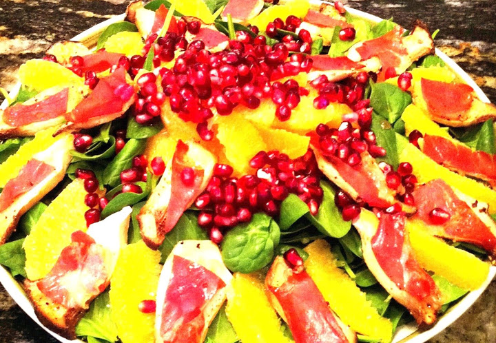 Spinach Salad with King Oyster Proscuitto Croutons, Mandarins and Pomegranate Seeds