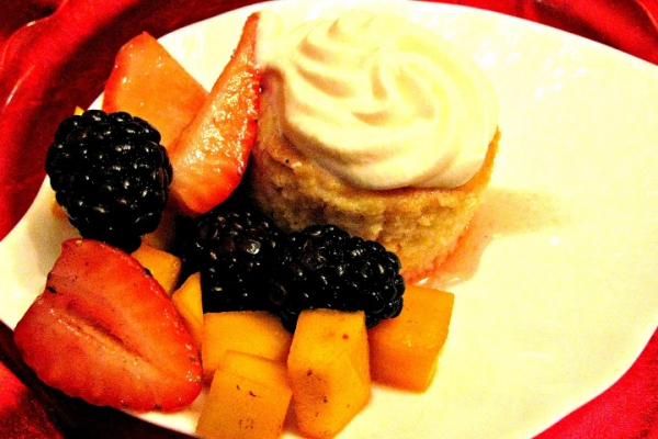 Tres Leche Cake with Mango, Strawberry, Blackberry and Grand Marnier Cream