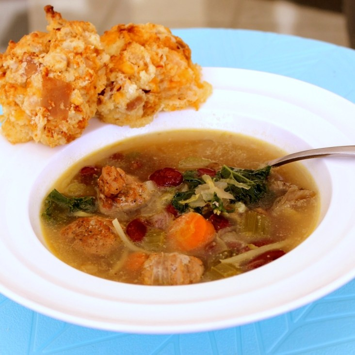 Sausage, Kale and Kidney Bean Soup with Cheddar Prosciutto Biscuits4b