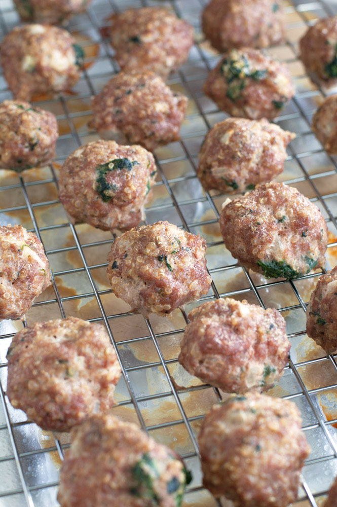 Turkey spinach meatballs on a pan