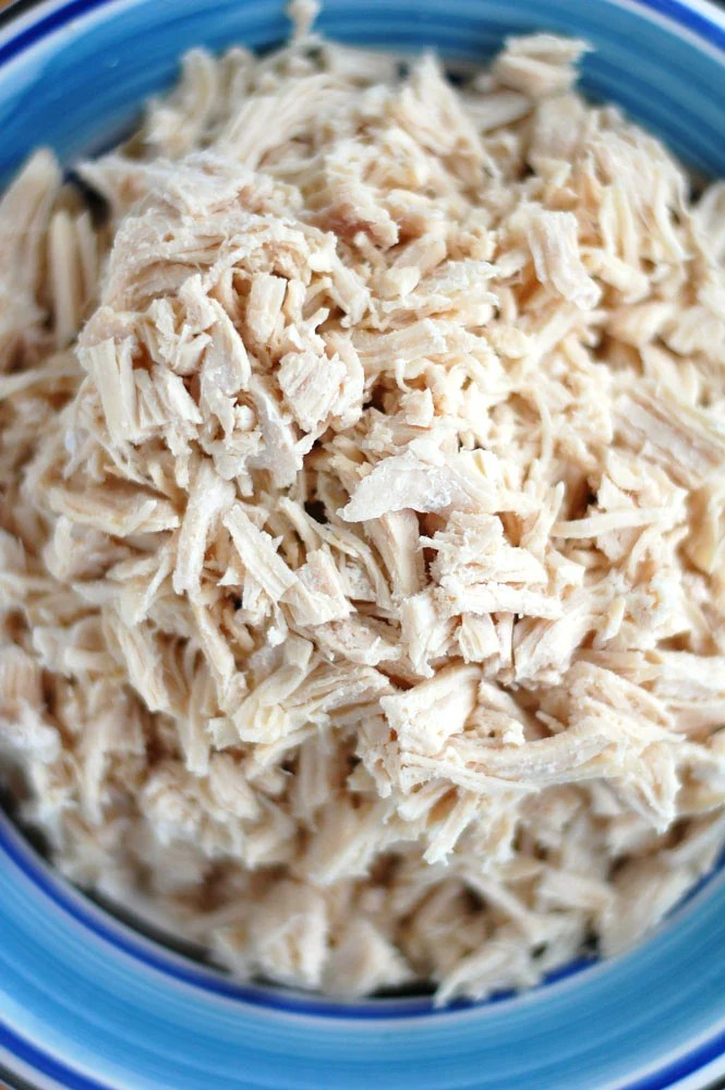 bowl of shredded chicken