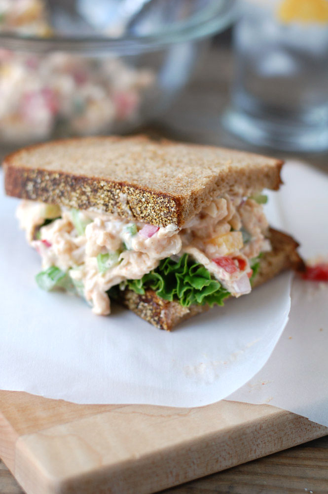 Spicy Chicken Salad Sandwiches have amazing crunch and a little bit of spice. You will love this chicken salad!